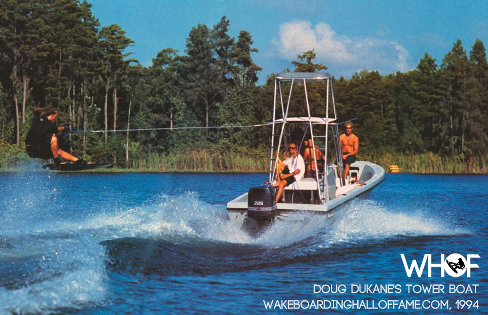 doug dukane wakeboarding photographer fishing boat with tower