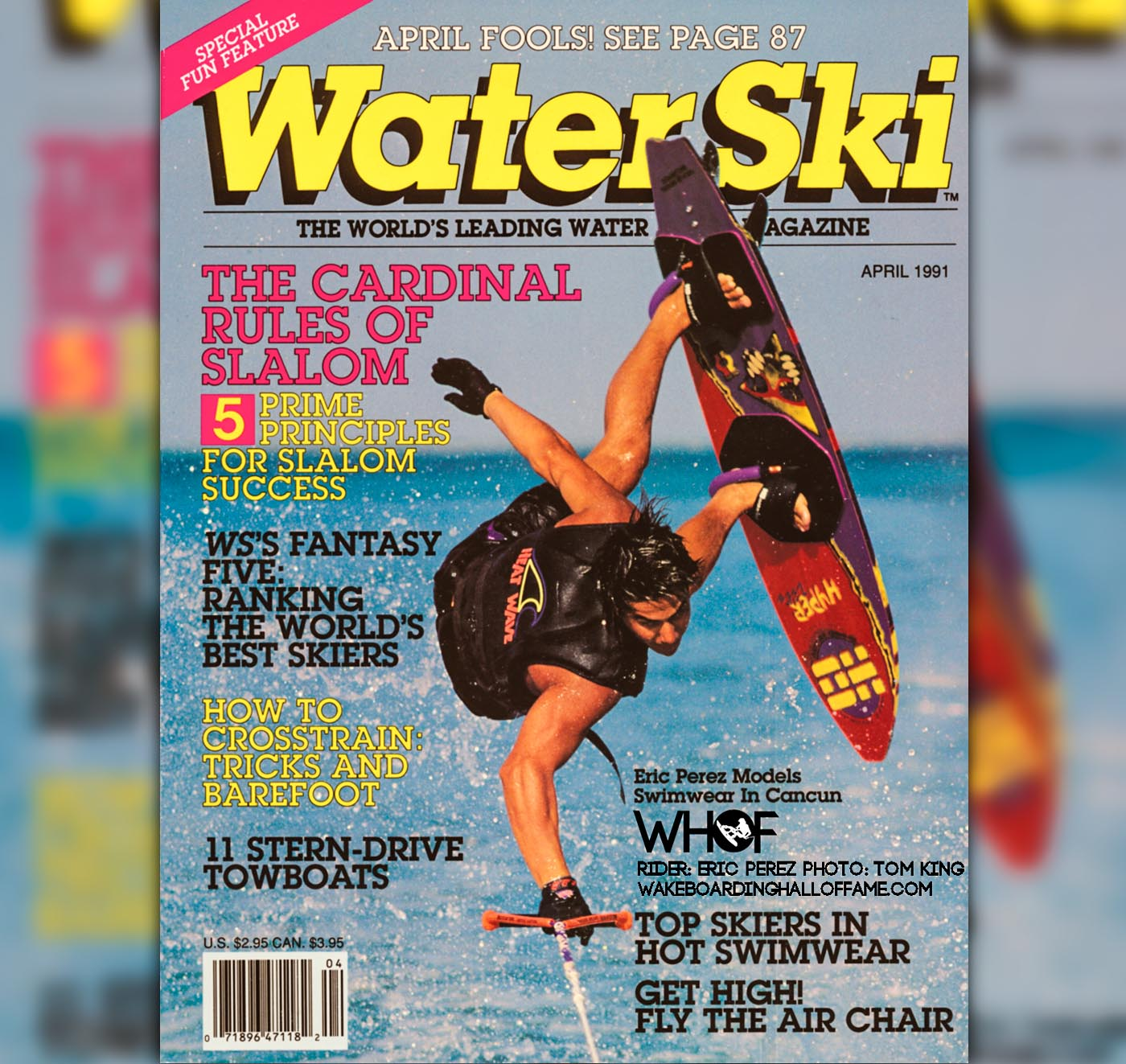 Eric Perez 1991 Water Ski Magazine Cover Hyperlite Tom King WEB