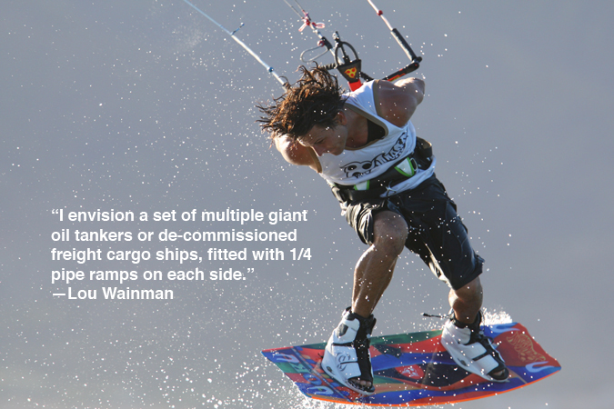 Lou Wainman wakestyle. Kiteboarding Legend